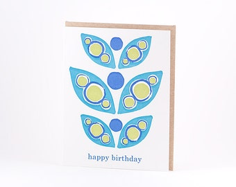 Peacock Birthday Letterpress Card