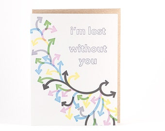Lost Without You Letterpress Card