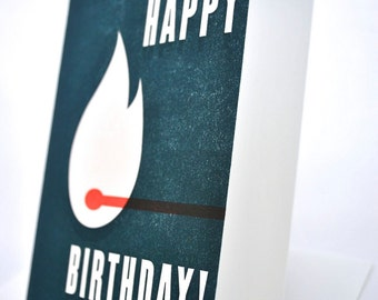 Match-less Happy Birthday Letterpress Card in Blue
