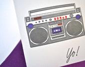 Boombox Letterpress Greeting Card