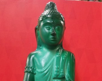 Bohemian Malachite Glass Buddha