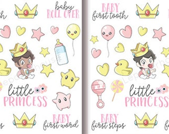 Baby Girl Stickers - Different Hair/Skin Color - Kawaii Chibi Baby planner stickers, EC stickers, Personal Planners