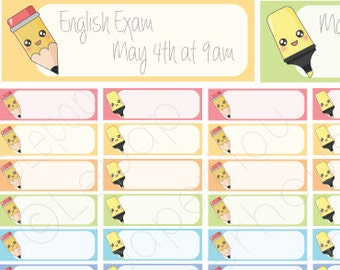 School Quarter Boxes - Printable stickers,Any Planner Set, Planner Stickers, Erin Condren, Instant Download