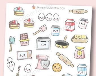 Kawaii Food Stickers - Kawaii Baking / Cooking planner stickers, Erin Condren stickers, Personal Planners