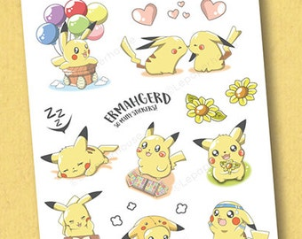Pokemon Pikachu Activities Stickers - Kawaii Chibi Pokemon planner stickers, EC stickers, Personal Planners