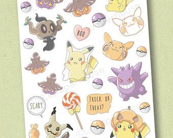 Pokemon Halloween-Aufkleber - Sticker Kawaii Chibi Pokemon Planer, EG Aufkleber, persönliche Planer