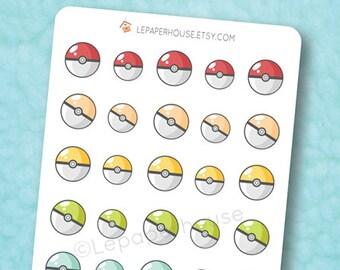 Rainbow Pokeballs Stickers - Kawaii Chibi Pokemon planner stickers, EC stickers, Personal Planners