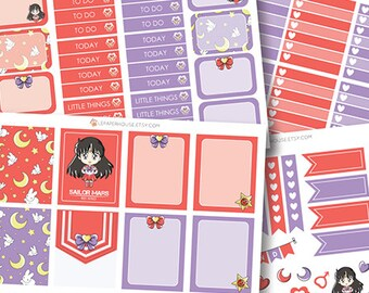 Sailor Moon - Mars Add-on Planner Stickers, matte glossy planner stickers, life planner stickers, erin condren filofax, mambi happy planner