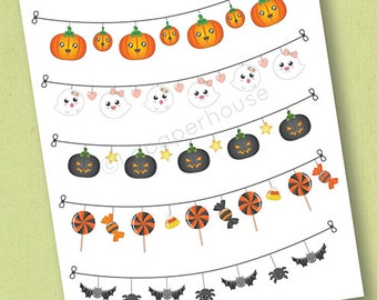 Halloween Banner Stickers, matte or glossy planner stickers, life planner stickers, erin condren filofax, mambi happy planner