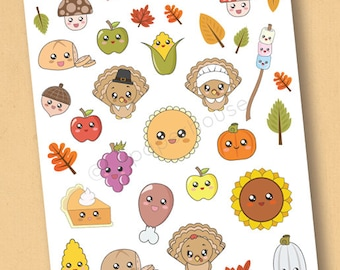 Fall & Thanksgiving Stickers, matte or glossy planner stickers, life planner stickers, erin condren filofax, mambi happy planner