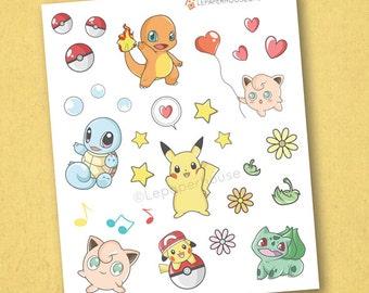 Pokemon Stickers - Kawaii Chibi Pokemon planner stickers, EC stickers, Personal Planners