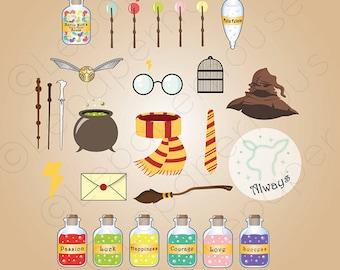 Cute Harry Potter theme clipart, digital scrapbooking elements - 27 Clip art, Instant Download