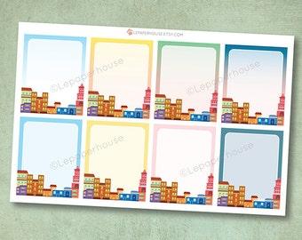 City Skyline Full Box Stickers, matte or glossy planner stickers, life planner stickers, erin condren filofax, mambi happy planner