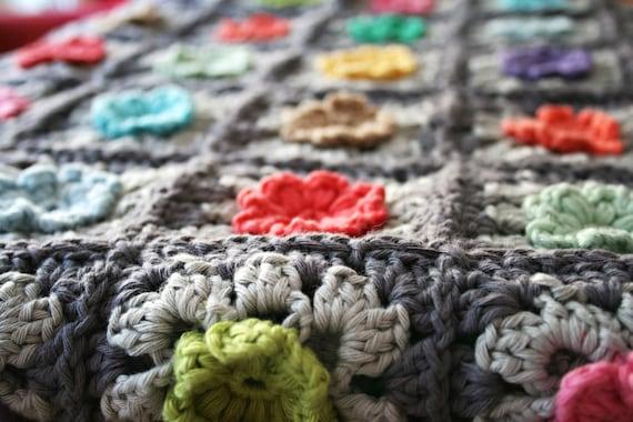 Granny Square Bobble Flower Blanket Haak Patroon Haakpatroon Etsy