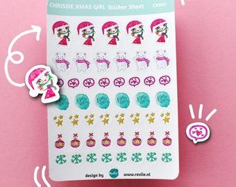 NEW Stickersheet Chrissie Xmas Girl 001, cute planner stickers, bujo stickers, cute stickers, kawaii stickers, halloween stickers