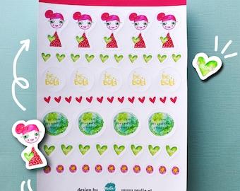 NEW Stickersheet Sally Strong Girl 001, cute planner stickers, bujo stickers, cute stickers, kawaii stickers