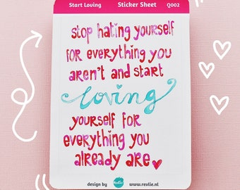 """NEW Stickersheet Quote """"Loving"""" Q002, cute planner stickers, bujo stickers, cute stickers, kawaii stickers, quote stickers"""
