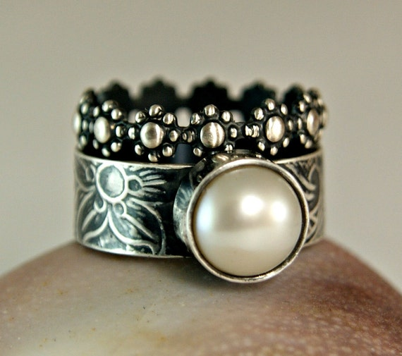 Pearl Ring Vintage Style Pearl Ring Hand Forged Jewelry Wide Etsy