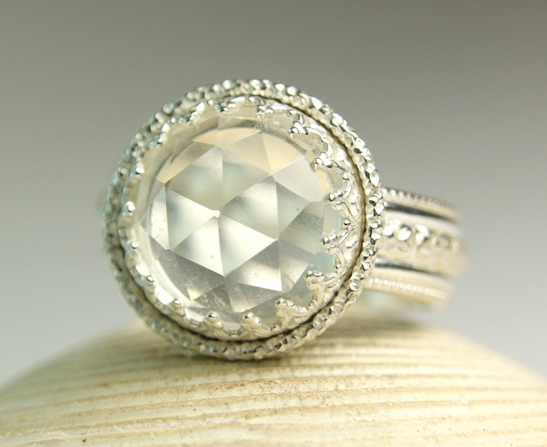 Ice Quartz Ring Solid Sterling Silver Jewelry Rose Cut image 0