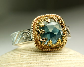 London Blue Topaz Ring, Cushion Cut Gemstone Ring, 14k Gold, Sterling Silver Ring, made to order