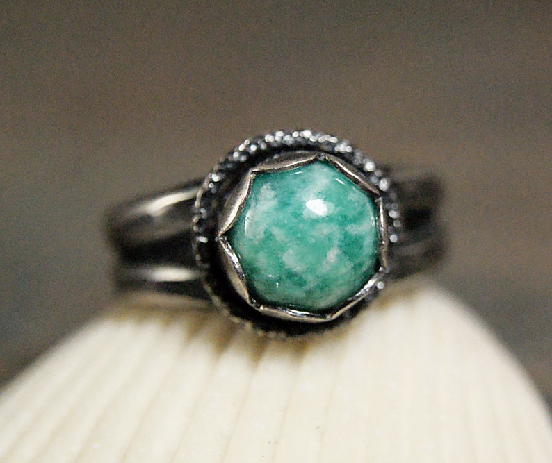 Amaonite Ring Sterling Silver Vintage Style Jewelry for Women Cocktail Ring Natural Gemstone