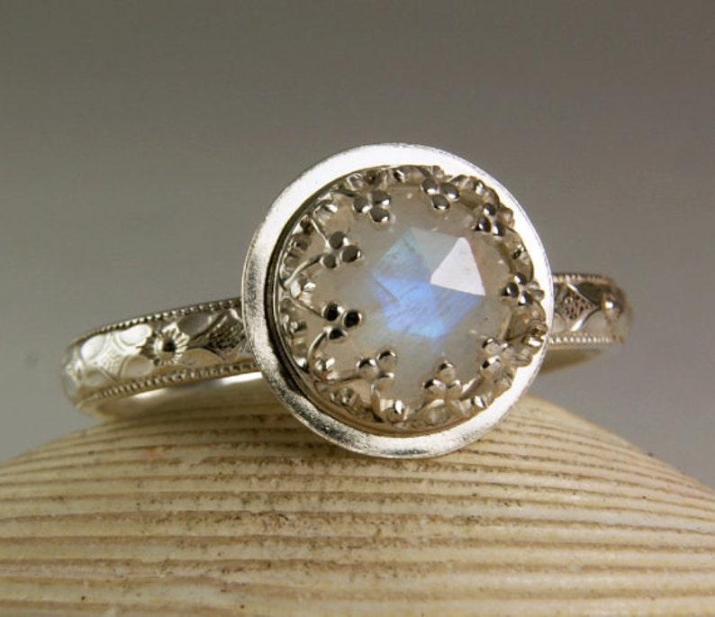145ca3ba98c Rainbow Moonstone Engagement Ring Natural Gemstone Womens Floral Wedding  Band
