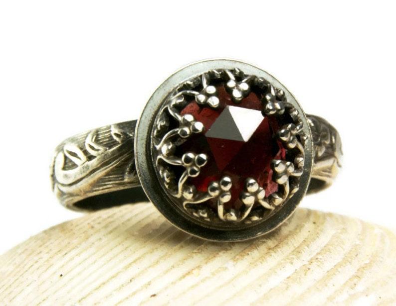 Vintage Style Garnet Ring Renaissance Ring Gothic Style image 0