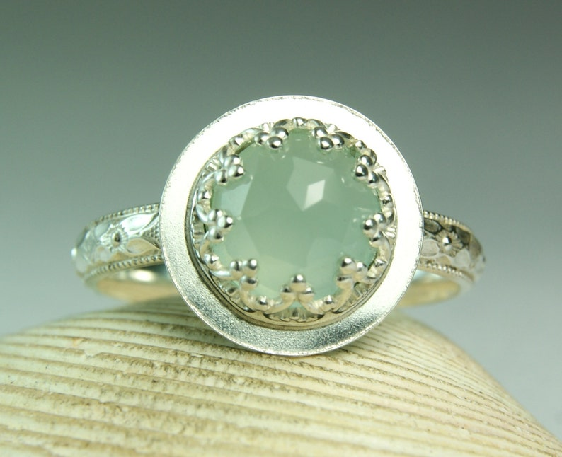 Aqua Chalcedony Ring Sterling Rose Cut Round Gemstone Cocktail Ring Thin Floral Band Silver Solitaire Ring