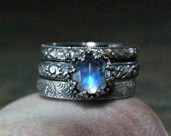 Rainbow Moonstone Stacking Rings Unique Promise Ring in Sterling Silver