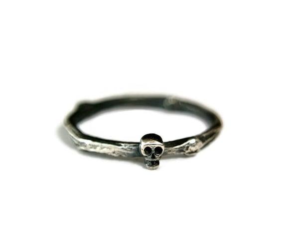 059cbec09 Sterling Silver Skull Ring Rustic Style Dainty Wedding Band | Etsy