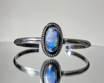 Sterling Silver and Cultured Opal -- Rainbow Galaxy -- Stacking Cuff Bracelet