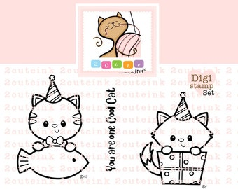 Birthday Cats Digital Stamps Set - Birthday Digital Stamps - Cat Digital Stamp - Kitty Digital Stamp - Printable Cat Coloring Page