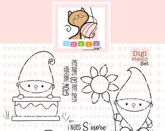 Fall Gnome Digital Stamps Set - Gnome Digital Stamps - Fall Digital Stamps - Coloring Digital Stamp - Printable Digi Stamp