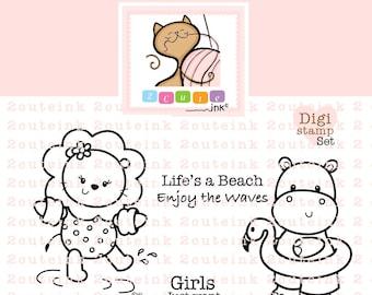 Summer Animals Digital Stamps Set - Summer Digital Stamps - Beach Digital Stamps - Pool Digital Stamps -  Digi Stamps - Card Making
