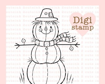 Pumpkin Scarecrow Digital Stamp - Scarecrow Digital Stamp - Digital Scarecrow Stamp - Scarecrow Art - Fall Card Supply - Fall Craft Supply