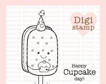Ice Cream Sandwich Birthday Digital Stamp - BirthdayDigital Stamp - Digital Ice Cream Sandwich Stamp - Birthday Art - Birthday Card Supply