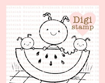 Ant Family Picnic Digital Stamp for Card Making, Paper Crafts, Scrapbooking, Hand Embroidery, Invitations, Stickers, Cookie Decorating