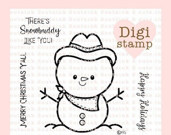 Country Snowman Digital Stamp - Digital Stamps for Card Making - Cowboy Snowman Printable - Christmas Digital Stamp - Snowman Coloring Page
