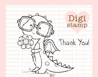 Dudley Dragon Digital Stamp - Digital Stamps for Card Making - Dragon Scrapbook Printable - Dragon Birthday Stamp - Dragon Coloring Page