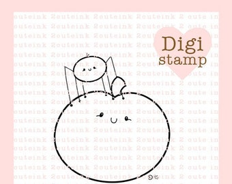 Pumpkin and Spider Cuties Digital Stamp for Card Making, Paper Crafts, Scrapbooking, Handmade Cards, Coloring