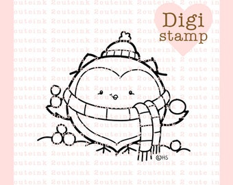 Snowball Owl for Card Making, Paper Crafts, Scrapbooking, Hand Embroidery, Jewlery, Coloring Pages