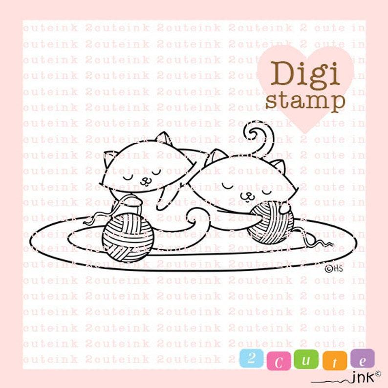Cat Nap Digital Stamp  Digital Stamps for Card Making  Cat image 0
