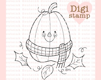 Fall Pumpkin Digital Stamp Line Art for Card Making, Paper Crafts, Scrapbooking, Hand Embroidery, Jewlery, Coloring Pages
