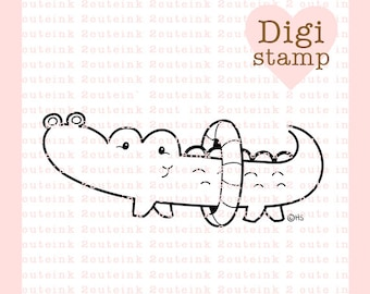 Alligator Swim Digital Stamp for Card Making, Paper Crafts, Scrapbooking, Hand Embroidery, Invitations, Stickers, Coloring Pages