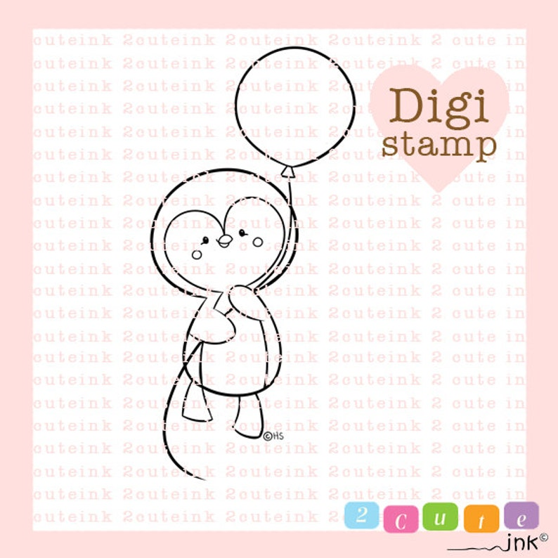 Penguin Balloon Digital Penguin Stamps  Birthday Stamp  image 1