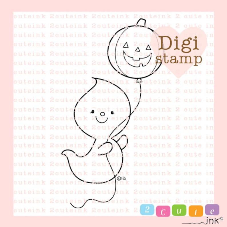 Balloon Ghost Digital Stamp  Halloween ghost digital art for image 0