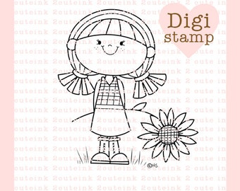 Sunflower Girl Digital Stamp for Card Making, Paper Crafts, Scrapbooking, Hand Embroidery, Invitations, Stickers, Coloring Pages