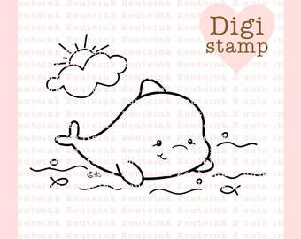 Dolphin Cutie Digital Stamp for Card Making, Paper Crafts, Scrapbooking, Hand Embroidery, Invitations, Stickers, Coloring Pages