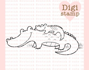 Alligator Hugs Digital Stamp for Father's day, Card Making, Paper Crafts, Scrapbooking, Invitations, Stickers, Coloring Pages, Stamping