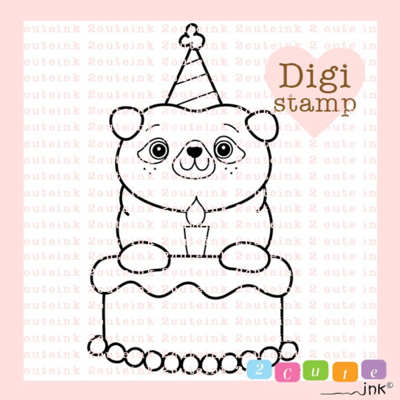Birthday Pug Digital Stamp for Card Making Paper Crafts image 0